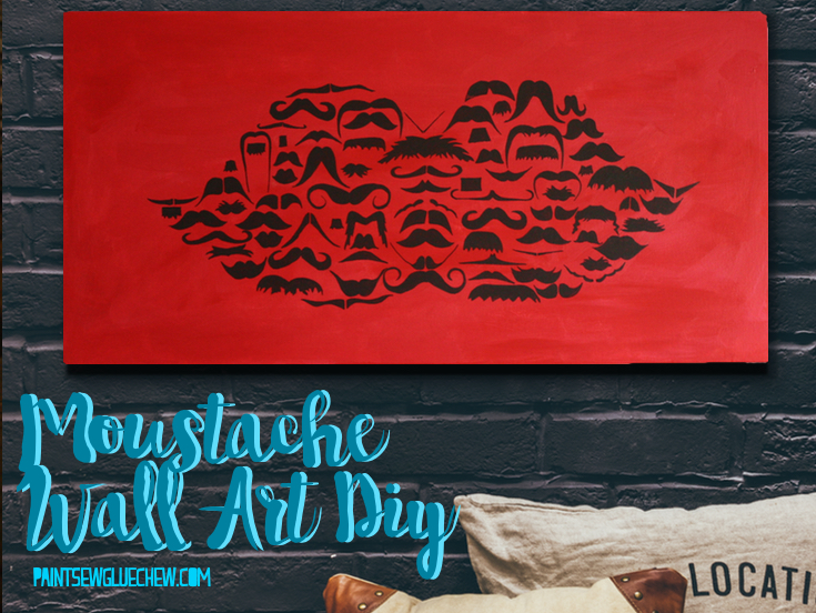 Art made from moustache vectors on a wall