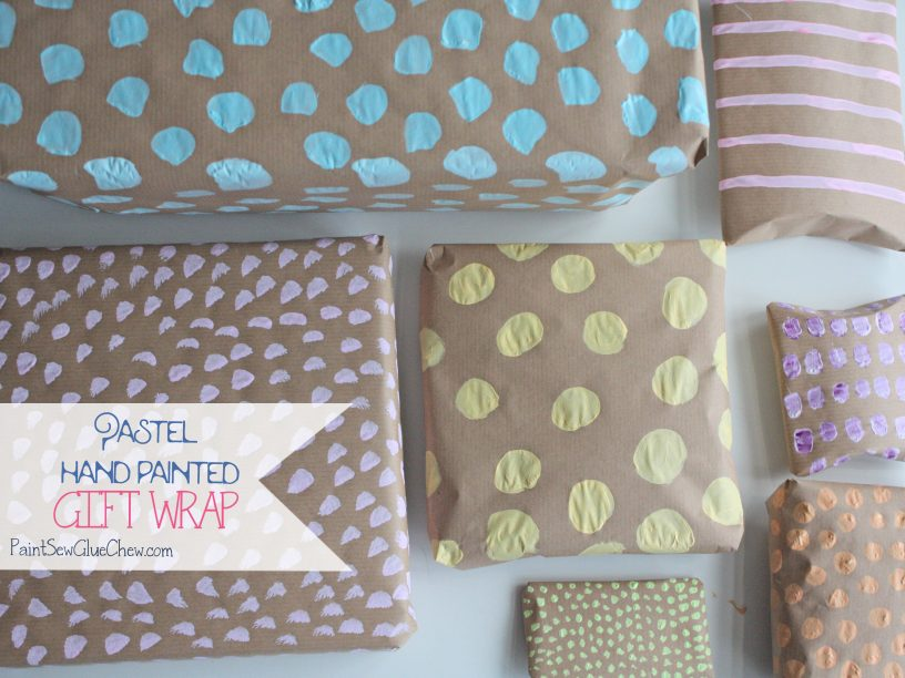 Pastel hand painted gift wrap