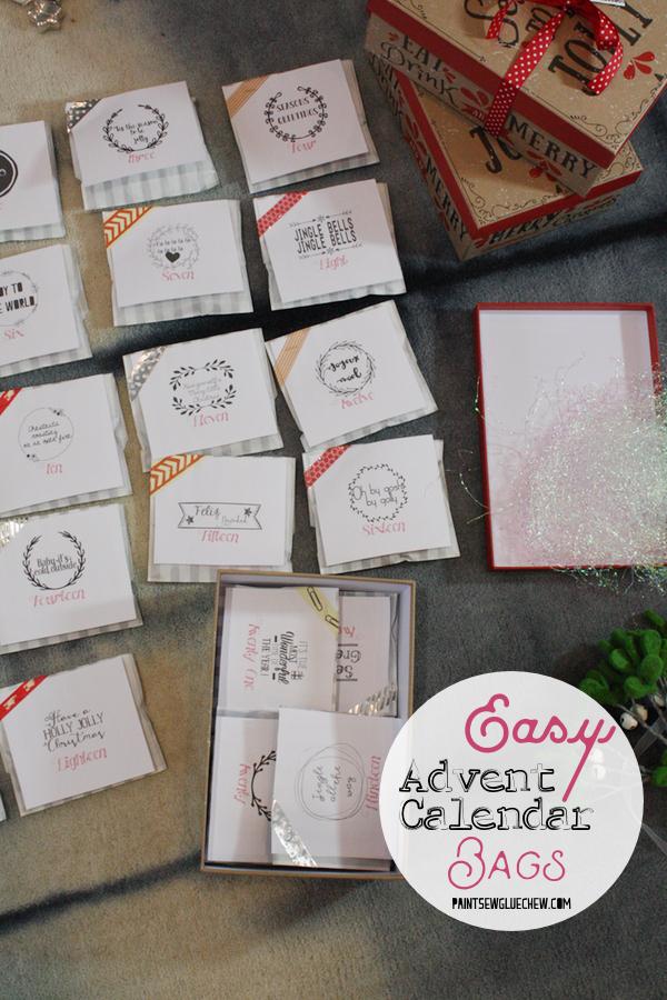 Printable advent calendar Bags